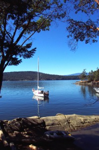 Our boat anchored in Conover Cove on Wallace Island