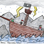 I love the interpretation of the 'baddies' boat hitting the rocks in a lightning storm.
